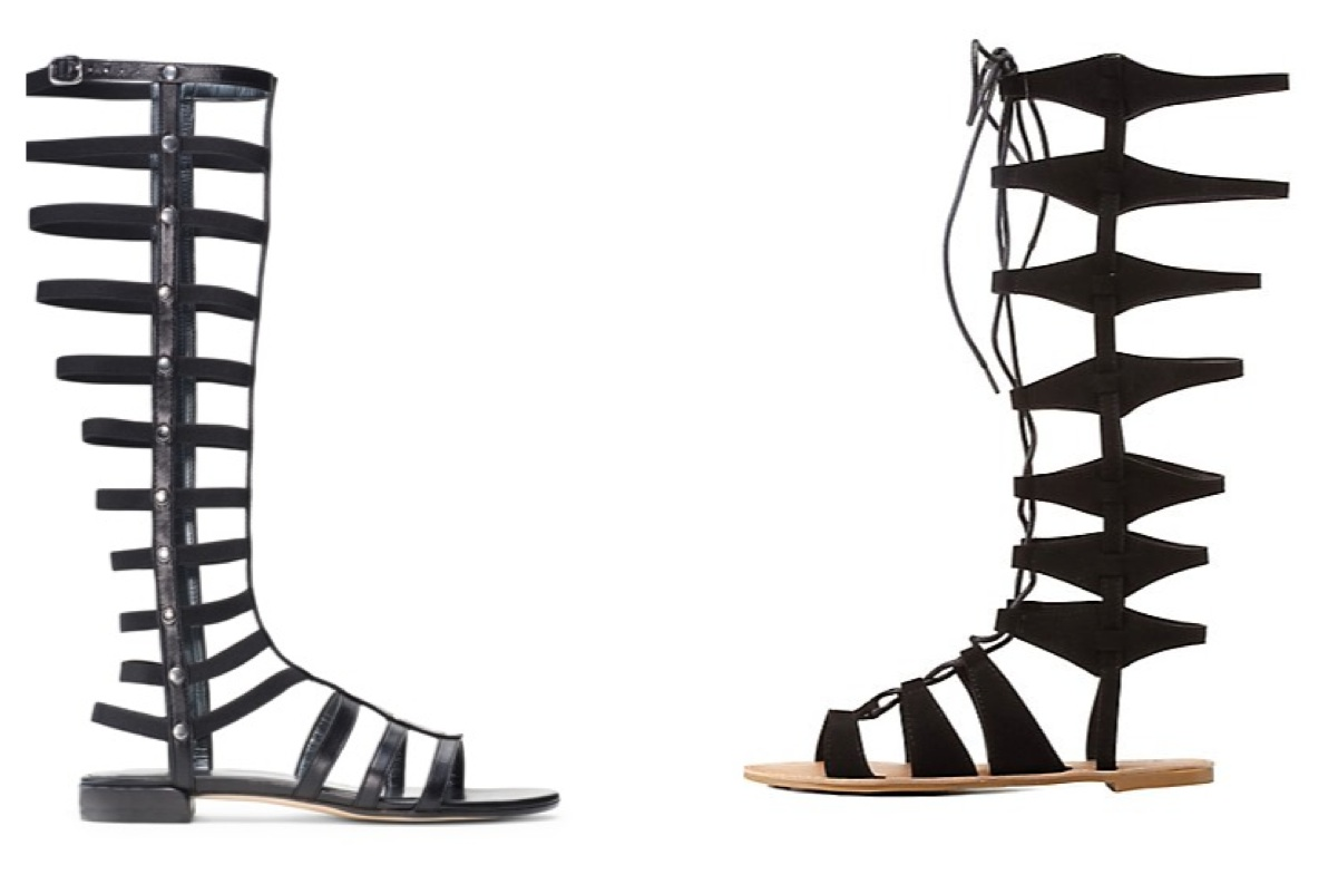 aa12be0f2767 Left  The Gladiator Sandal by Stuart Wietzman in Black Nappa ( 425) Left   Qupid Laceup from Charlotte Russe ( 39.99)