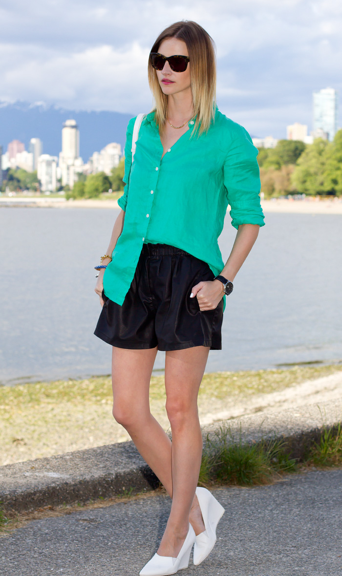 Vancouver Fashion Blogger, Alison Hutchinson, wearing J Crew green linen button-up top, Zara black leather shorts, Sass & Bide tortoise shell sunglasses, H&M white wedges and bag, Stella&Dot jewelry