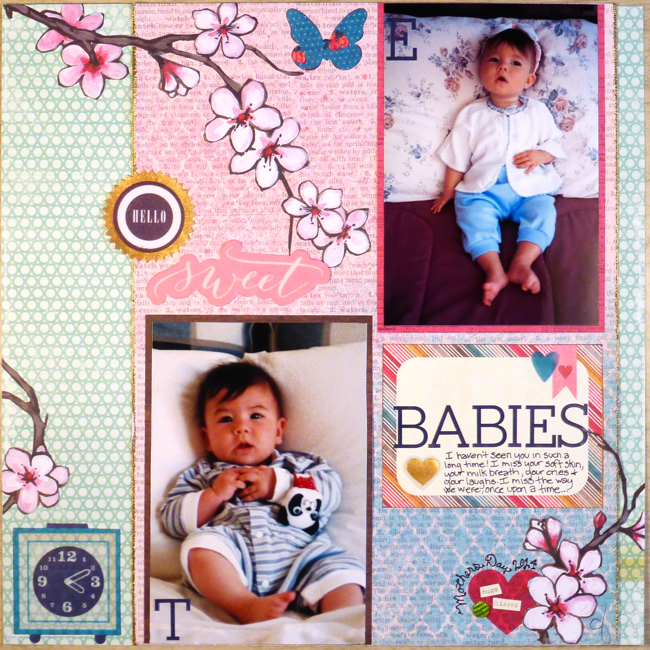 Hello Sweet Babies, Emily Anderson, Takeo Anderson, children, babies, scrapbook page, baby scrapbook page,