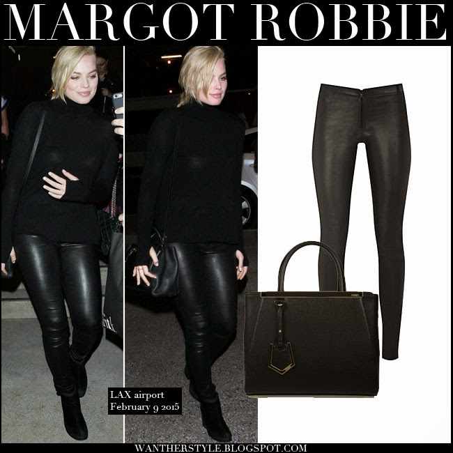 defc65db0690a9 Margot Robbie in black leather leggings Alice Olivia with black sweater and  black leather tote fendi