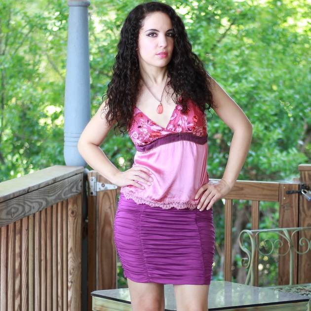 Purple Ruched Skirt
