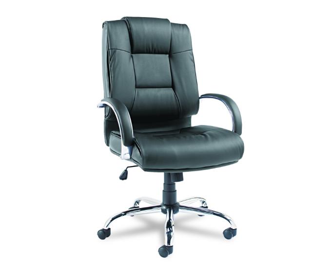 Alera Ravino Series High-Back Swivel/Tilt Leather Chair, Black