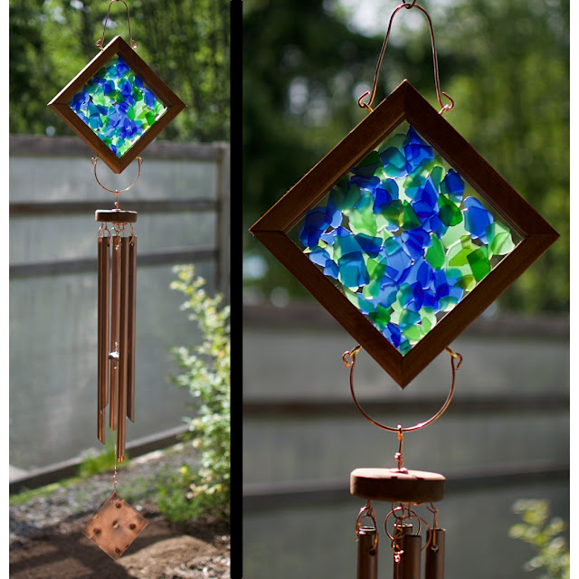 Sea glass and copper kaleidoscope wind chime