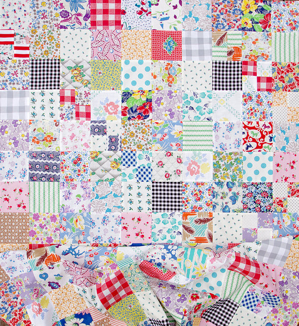 Vintage and Feedsack Fabric Quilt in Progress | Red Pepper Quilts 2015