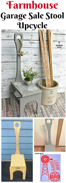 Upcycled Garage Sale Stool www.organizedclutter.net