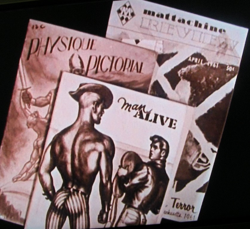 homophile magazine 'Mattchine Review' April 1961 cover shown next to homosexual porno magazines 'Physique Spectacular' and 'Man Alive' showing men posing provocatively'