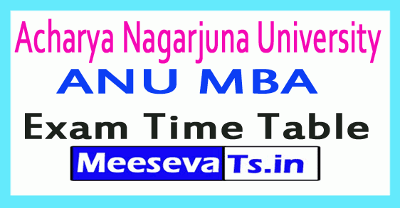 Acharya Nagarjuna University ANU MBA Exam Time Table