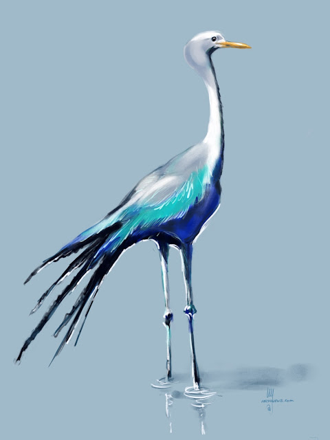 Blue Crane bird painting by Artmagenta