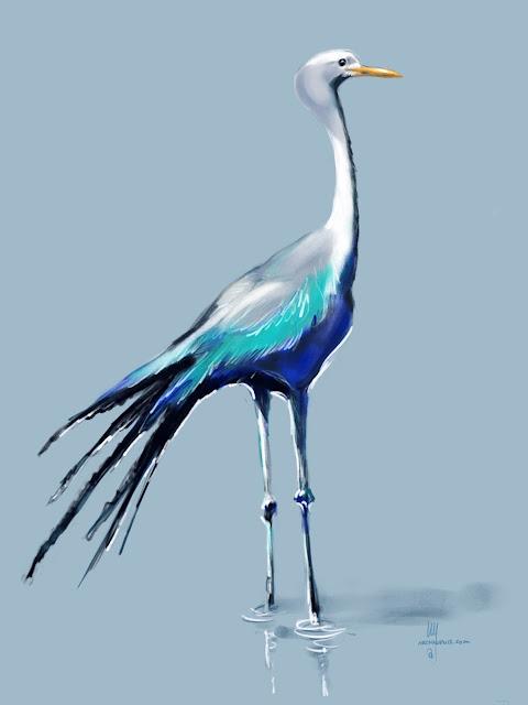 Blue Crane bird painting by Artmagenta