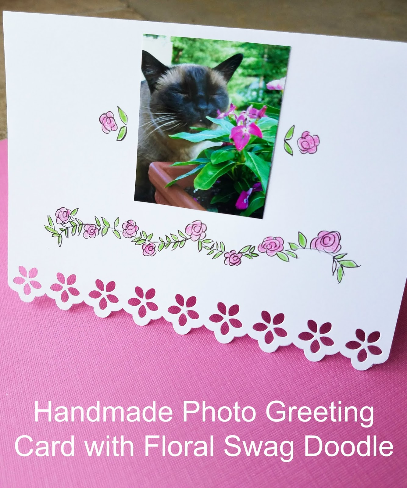 Handmade greeting card with floral doodle