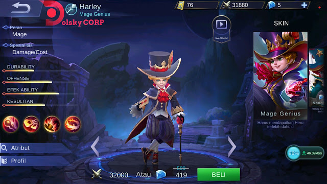 Mobile Legends : Hero Harley ( Mage Genius ) Burst Damage Builds Set up Gear