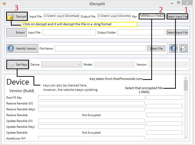 Decrypt encrypted  dmg files (iOS) with iDecryptit | Binary