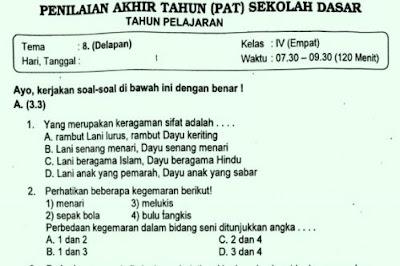 Soal Ulangan Kelas 4 Tema 8 Kurikulum 2013
