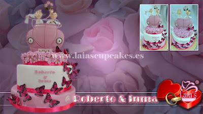 Tarta personalizada de fondant boda nupcial enlace matrimonio mariposas Laia's Cupcakes Puerto Sagunto