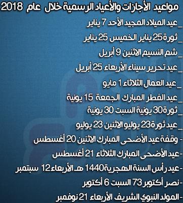 الاجازات والعطلات الرسمية في مصر 2018