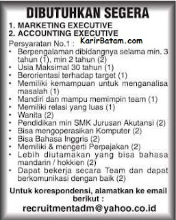 Lowongan Kerja Marketing Executive Batam