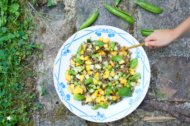salade estivale lentilles pêches vegan sans gluten food photography IG bas