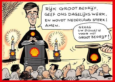 Rutte bidt als Grootkapitaal Shell lobbyist tot het Rijke Grootbedrijf en vraagt een donatie