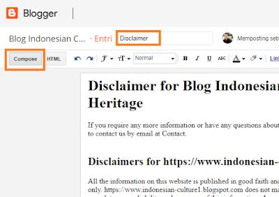 Cara Mudah Membuat Disclaimer Blog