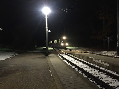 Renon's historic narrow-gauge railway - at night (at Lichtenstern /Stella station).
