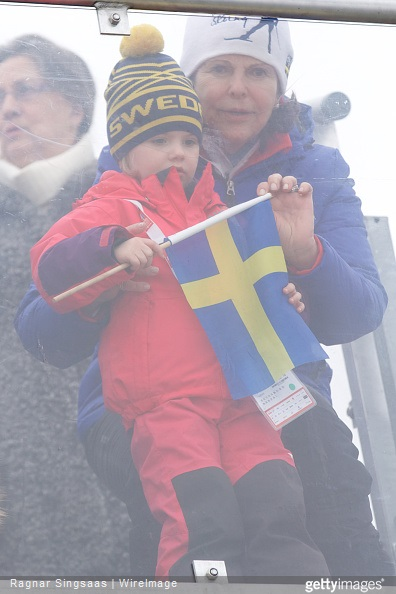 Queen Silvia of Sweden and Princess Estelle of Sweden attend the FIS Nordic World Ski Championships