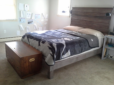 Master bedroom campaign chest rustic headboad bedframe
