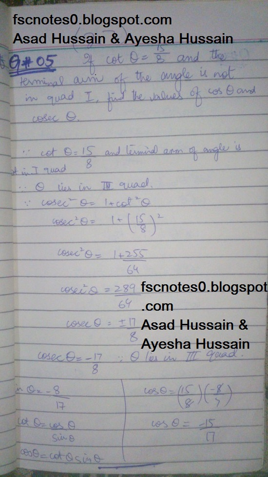 FSc ICS FA Notes Math Part 1 Chapter 9 Fundamentals of Trigonometry Exercise 9.2 Question 5 - 8 by Asad Hussain & Ayesha Hussain