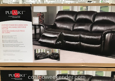 Costco 1041134 - Pulaski Furniture Leather Power Reclining Sofa: a reclining chair and sofa all in one!