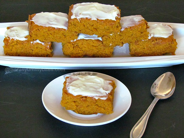 Eggless Pumpkin Bars with Cheese creame Frosting