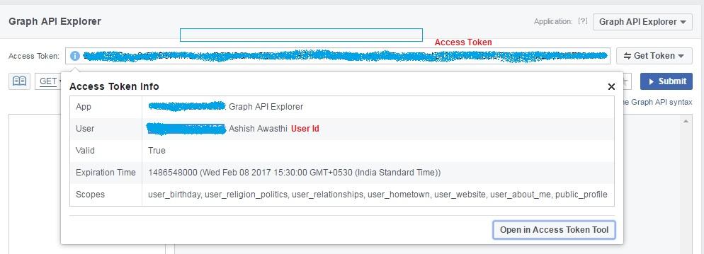 Get Facebook profile detail using restfb Graph API in Java & ADF