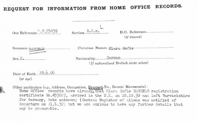May 20, 1941 - KV 2/25 - 83b - MI5 request for Home Office Records lookup of Klara Sofie Bauerle.
