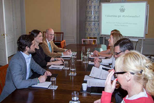 Princess Sofia and Prince Carl Philip of Sweden at the meeting of their own foundation.Sofia Hellqvist Style