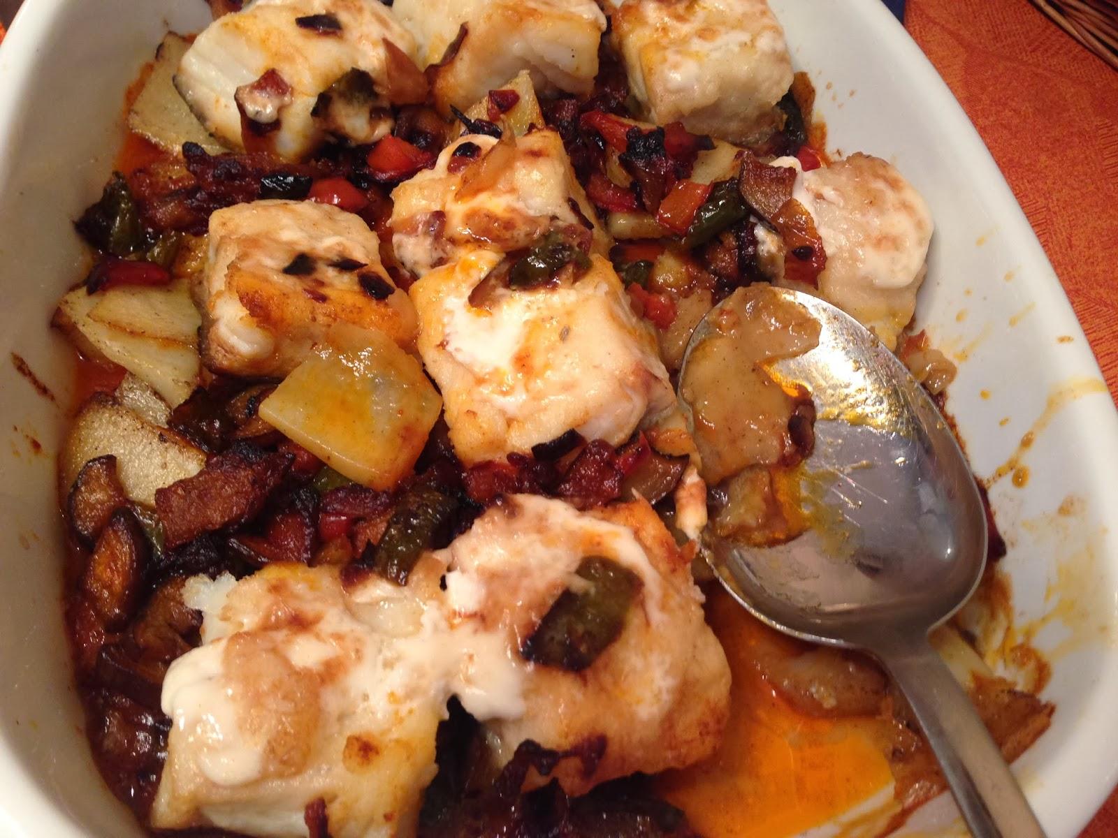 Cocina 3 generaciones bacalao con samfaina y patatas for Cocina bacalao con patatas