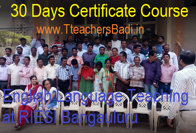 Teachers 30 Days Certificate Course in English Language Teaching at RIESI Bangauluru