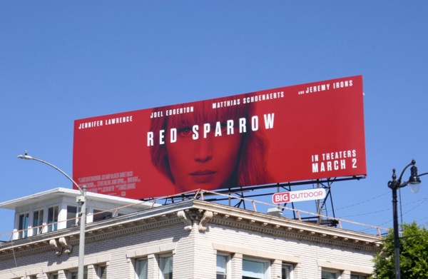 Red Sparrow movie billboard