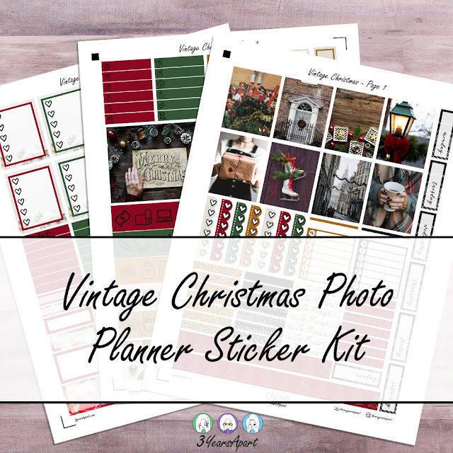 3 sheets of a free Christmas photos themed planner sticker kit