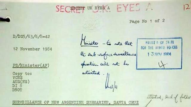 Una nota secreta con fecha en 1984 sobre la entrega del submarino ARA Santa Cruz