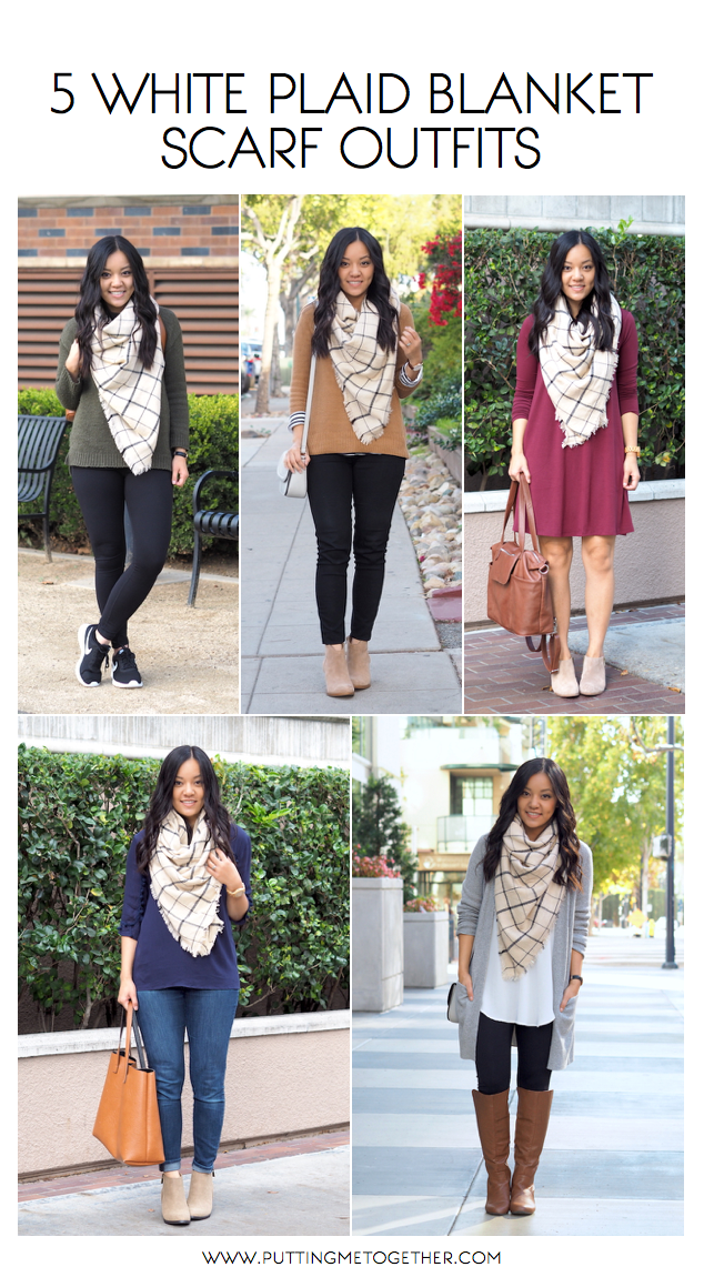 Outfits With a White Plaid Blanket Scarf