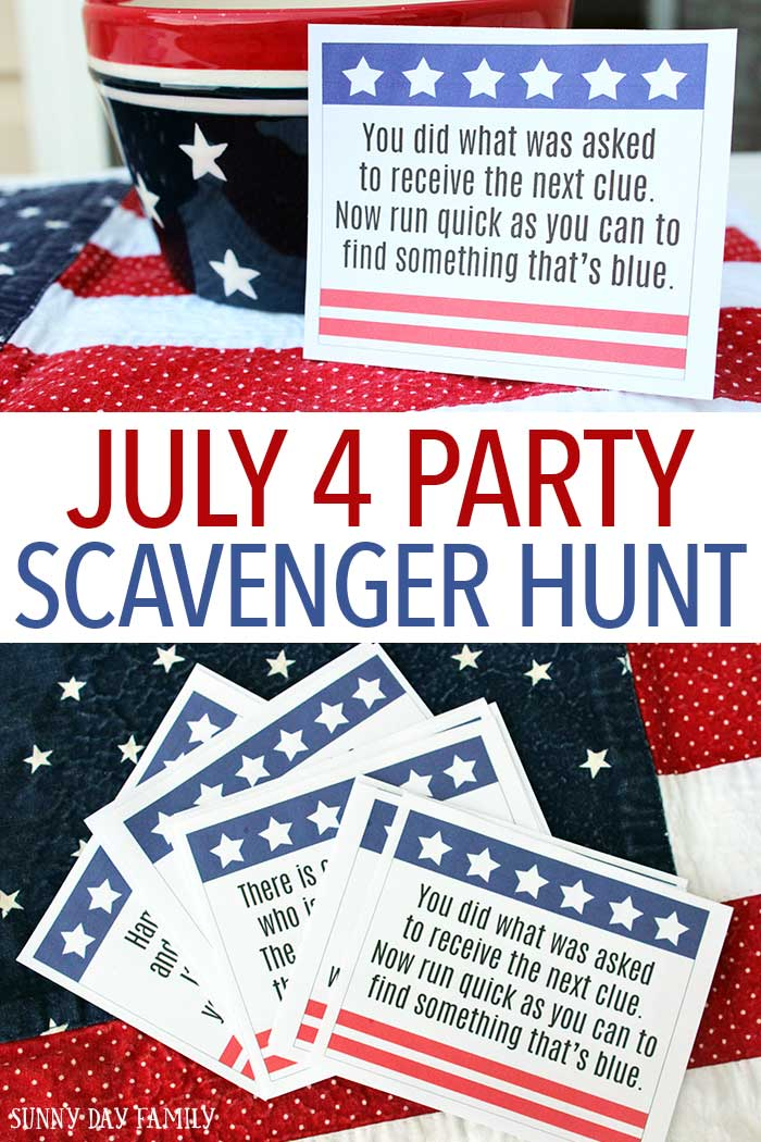 Entertain the kids at your July 4 party with this fun scavenger hunt! Includes printable clues and instructions so it's super easy to create this easy July 4 activity for kids. Perfect for getting kids moving before the fireworks start. July 4 Activities | Scavenger Hunts | July 4 Printables | Family Fun