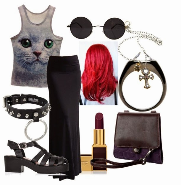 Gothic style cat lady's casual outfit to walk all day