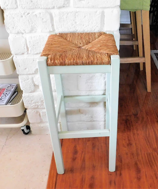 pale green painted stool