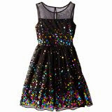 Speechless Big Girls' Illusion Dress with Rainbow Sequin,  Black/Fuchsia, 7