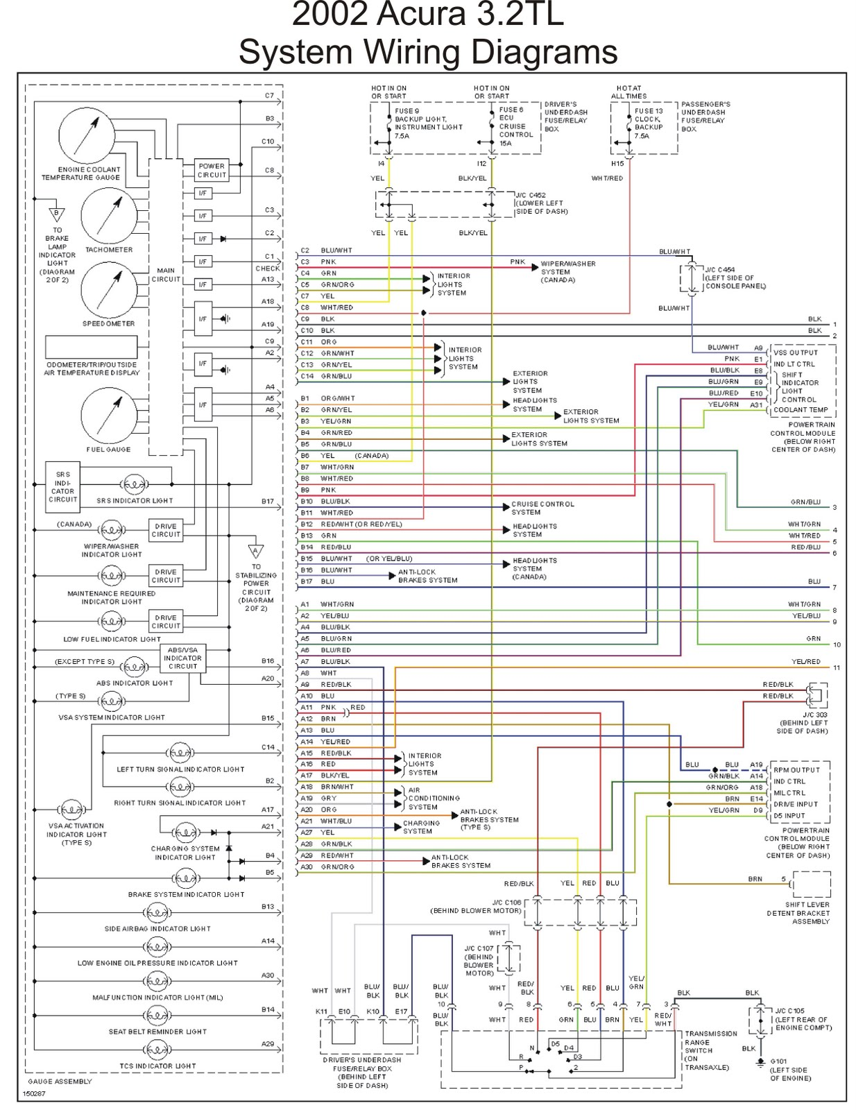 2002 Acura 32TL System Wiring Diagrams part 1 | Schematic