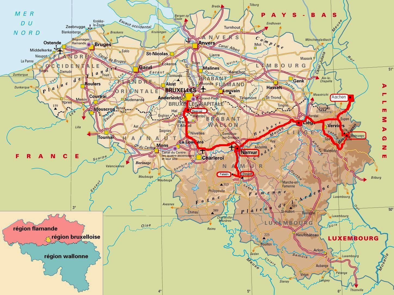Mapa de Valonia Belgica
