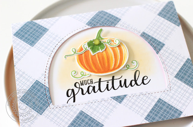 Sunny Studio Stamps: Pretty Pumpkins & Autumn Greetings Gratitude Card by Nancy Damiano
