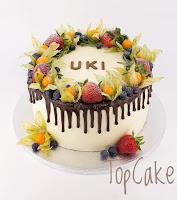 Täytekakku, syntymäpäiväkakku, juhlakakku, birthday cake, blueberries, topcake, drip cake, berry cake, berries, ganache, valukakku, marjakakku, marja, hedelmäkakku, juhlakakku, synttärikakku, topcake