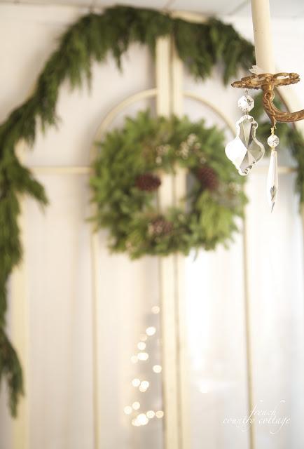Christmas wreath and garland on doors