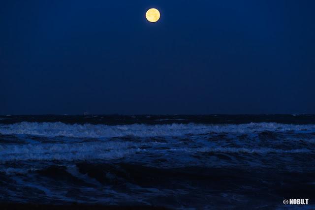 沈みゆく満月と打ち寄せる波~原岡海岸(南房総市)