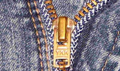 YKK, on jeans, denims