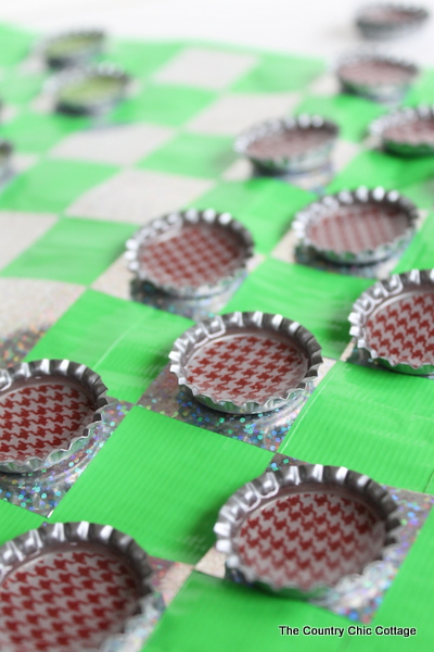DIY Travel Bottle Cap Checkers how to make your own